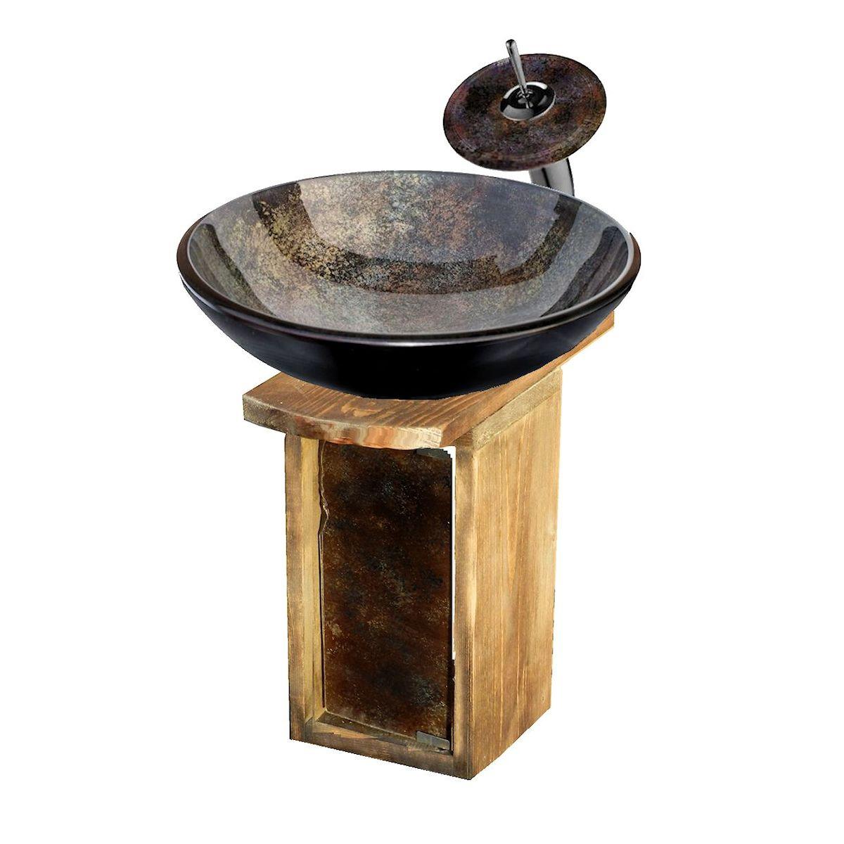 Подвесная коричневая раковина из стекла 114-emp-8019