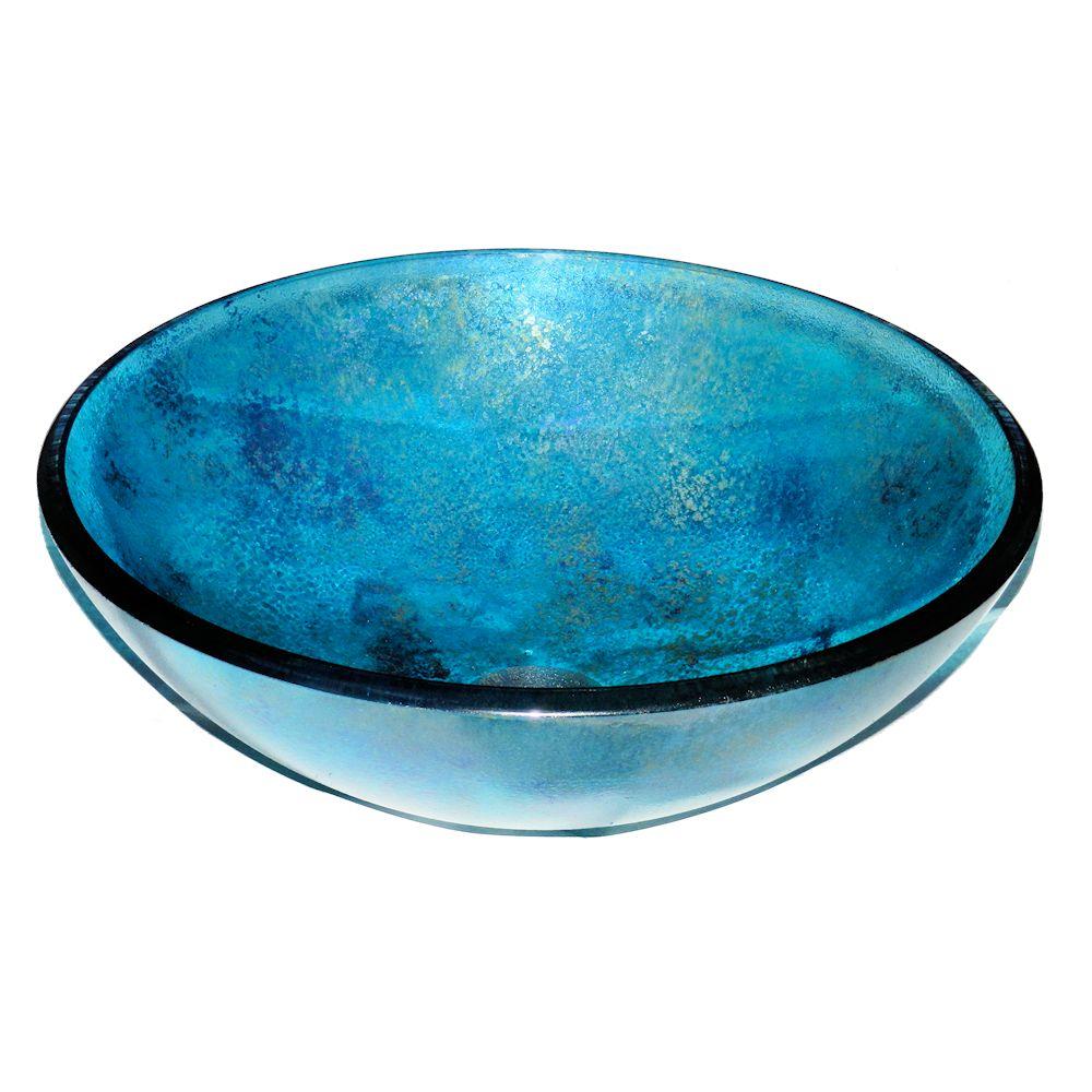 Фото стеклянная накладная чаша умывальник Nova Torena синяя