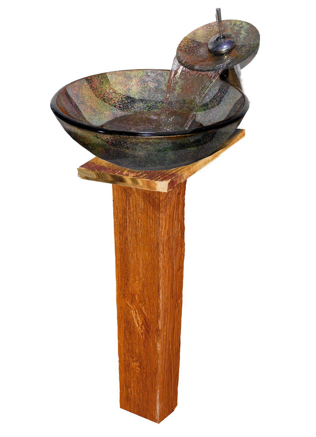 Стеклянный бежевый умывальник Nova Faraon Wood